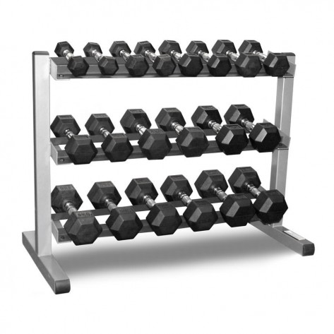 Rubber Hex Dumbbell with 3 Tier Dumbbell Rack