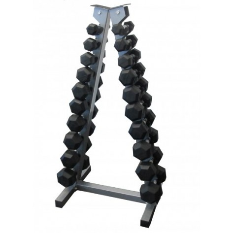 1-10kg Rubber Hex Dumbbell Set With Rack