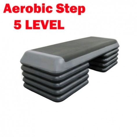 Black Aerobic Exercise Step with 4 Pairs Block 5 Level Bench