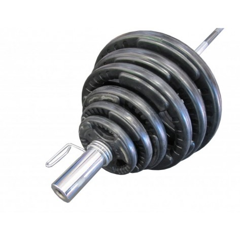 180KG OLYMPIC RUBBER COATED BARBELL WEIGHTS SET