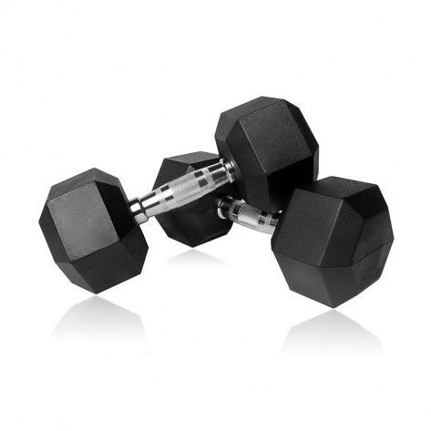 Pair of 9kg Rubber Hex Dumbbells