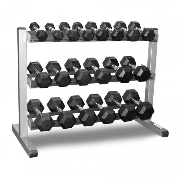 Dumbbell Set Big 5: 1-50kg Rubber Hexagonal Dumbbell Set With Two Of 3-Tiers