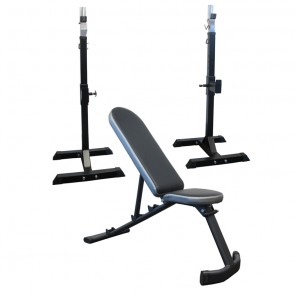 Adjustable FID Bench Flat Decline Incline Bench & Portable Squat Rack Package