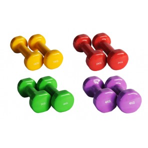 Pair of 1kg-4kg Vinyl Coated Dumbbell