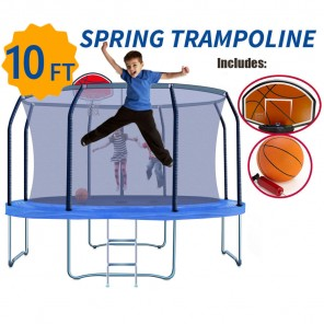 10ft Trampoline Round Safety Net+Spring Pad+Ladder Optional Basketball Set Kids