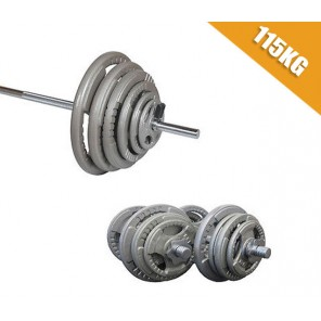 115kg Standard Hammertone Barbell/Dumbbell Weights Set