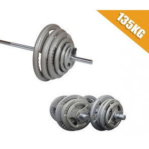 135kg Standard Hammertone Barbell/Dumbbell Weights Set