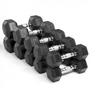 10-20kg Rubber Hexagonal Dumbbell Set with 2-tier Dumbbell Rack