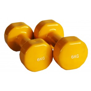 Pair of 6kg Vinyl Coated Dumbbell