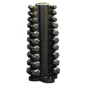 1-10kg Rubber Hexagonal Dumbbell Set With Vertical Rack