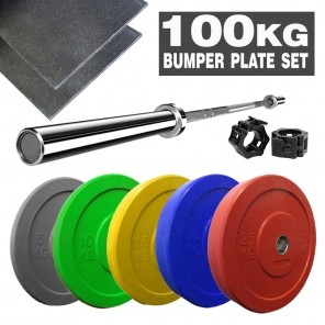 100kg Crossfit Weightlifting Barbell Bumper Plate Gym Weightlifting Set + Mats