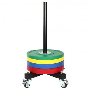 Vertical Olympic Bumper Plate Stacker with Wheels