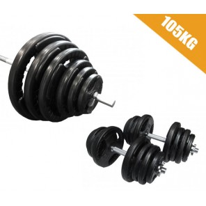 105kg Standard Rubber Coated Barbell/Dumbbell  Weights Set