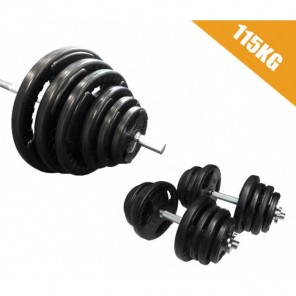 115kg Standard Rubber Coated Barbell/Dumbbell  Weights Set