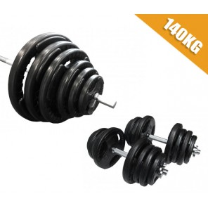 140kg Standard Rubber Coated Barbell/Dumbbell  Weights Set