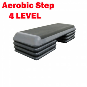 Black Aerobic Exercise Step with 3 Pairs Block 4 Level Bench