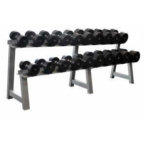 10-40kg Rubber Round Dumbbell Set With 2-Tiers Dumbbell Rack